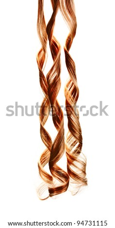Curly blond hair isolated on white - stock photo