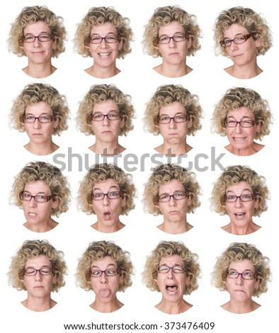 curly blonde caucasian woman with glasses collection set of face expression like happy, sad, angry, surprise, yawn isolated on white - stock photo
