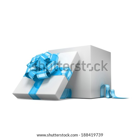 Curly bow on the gift. 3d visualization - stock photo