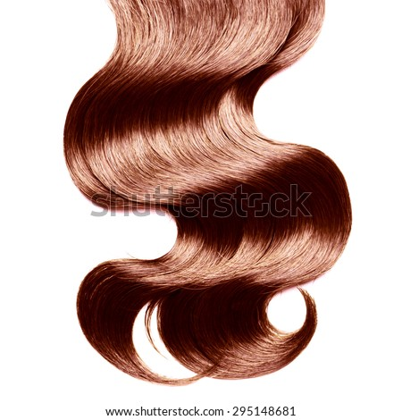 Curly brown hair over white - stock photo