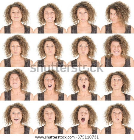 curly brunette young caucasian woman collection set of face expression like happy, sad, angry, surprise, yawn isolated on white - stock photo