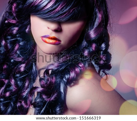 curly colored hair  - stock photo