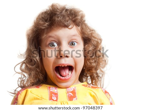 Curly girl scared and cries - stock photo