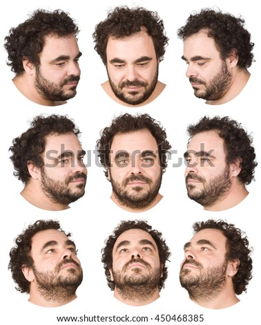 curly hair beard caucasian man collection set of face expression like happy, sad angry, surprise, yawn on white - stock photo