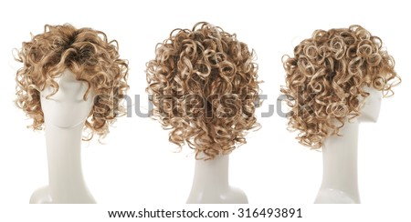 Curly hair wig over the white plastic mannequin head isolated over the white background, set of three foreshortenings