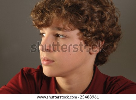 Curly-haired boy - stock photo