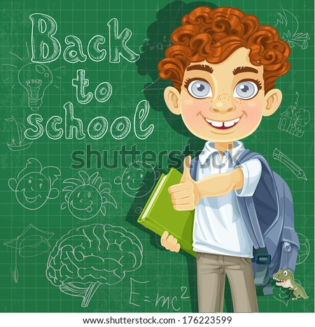 Curly-haired boy with books at the blackboard - stock photo