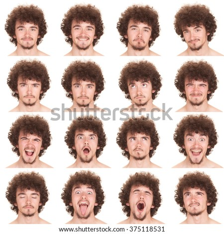 curly long hair and beard young adult caucasian man collection set of face expression like happy, sad, angry, surprise, yawn isolated on white - stock photo
