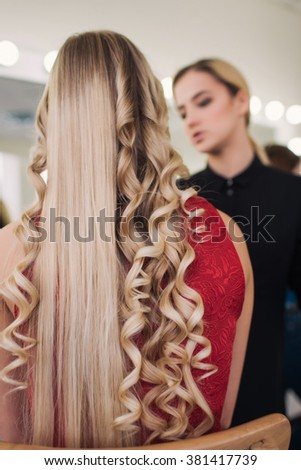 curly or straight hair - stock photo