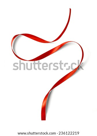 Curly red ribbon isolated on white background - stock photo