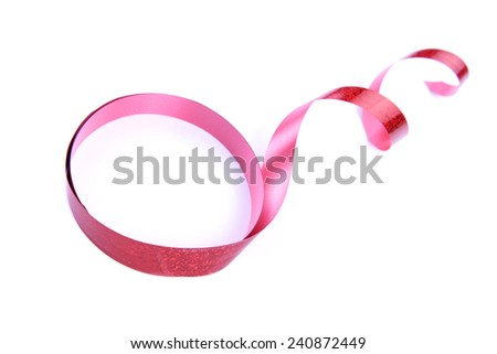 curly ribbon on white, valentines day concept - stock photo