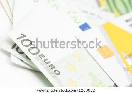 currencies and credit cards - stock photo