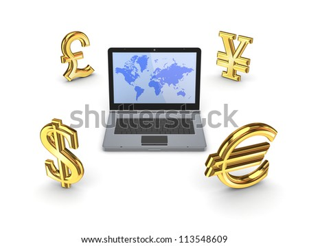 Currencies around notebook.Isolated on white background.3d rendered. - stock photo