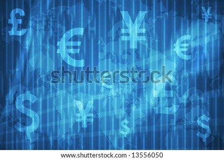 Currencies Collage Abstract Background in Blue Colors - stock photo
