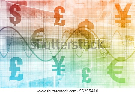 Currencies Collage as a Abstract Tech Background - stock photo