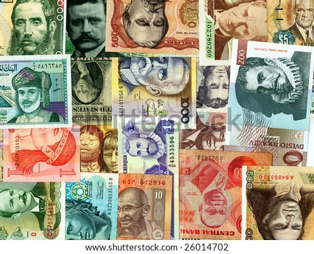 Currencies from around the world, paper banknotes. - stock photo