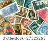 Currencies from around the world. Women theme. - stock photo