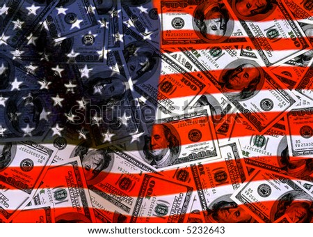 currency american dollars, background American Flag, for designer - stock photo