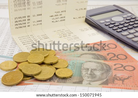 currency and paper money of Australia, saving account and money concept - stock photo