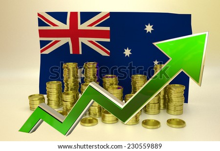 currency appreciation illustration - Australian dollar -3D render - stock photo