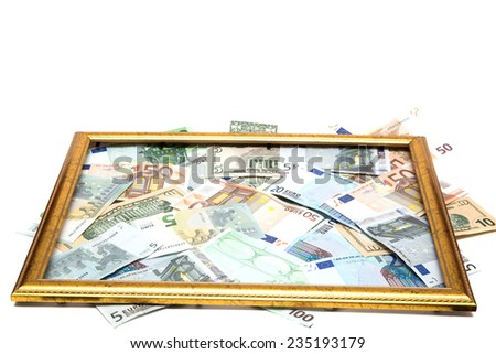 currency box on white background