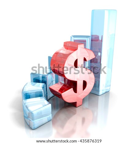 Currency business bar graph with red dollar symbol. 3d render illustration - stock photo