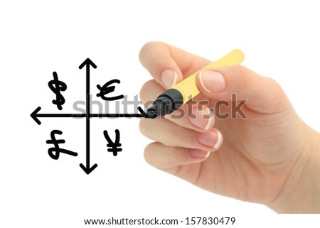 currency chart drawn by hand - stock photo