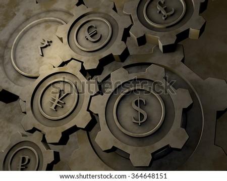Currency cogwheels - stock photo