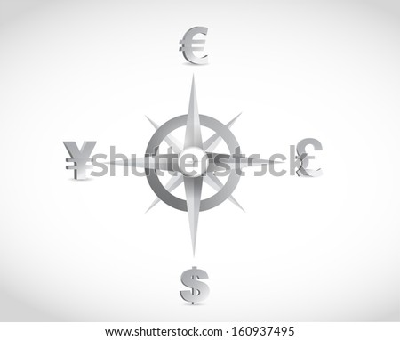 currency compass guide illustration design over a white background - stock photo