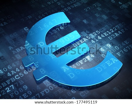 Currency concept: Blue Euro on digital background, 3d render - stock photo