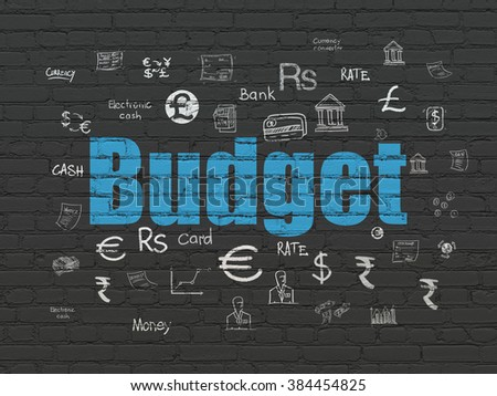 Currency concept: Budget on wall background - stock photo