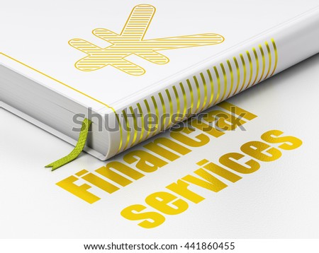 Currency concept: closed book with Gold Yen icon and text Financial Services on floor, white background, 3D rendering - stock photo