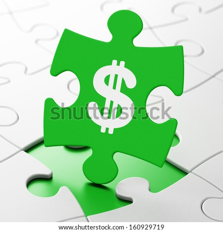 Currency concept: Dollar on Green puzzle pieces background, 3d render