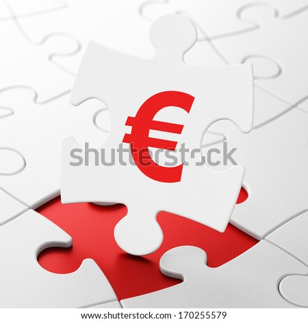 Currency concept: Euro on White puzzle pieces background, 3d render