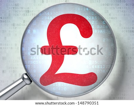 Currency concept: magnifying optical glass with Pound icon on digital background, 3d render - stock photo