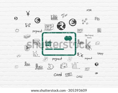 Currency concept: Painted green Credit Card icon on White Brick wall background with  Hand Drawn Finance Icons, 3d render - stock photo