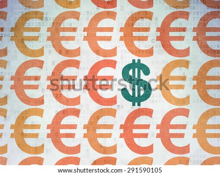 Currency concept: rows of Painted orange euro icons around green dollar icon on Digital Paper background, 3d render - stock photo