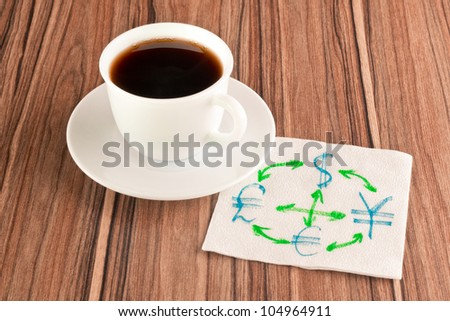Currency conversion on a napkin and cup of coffee - stock photo