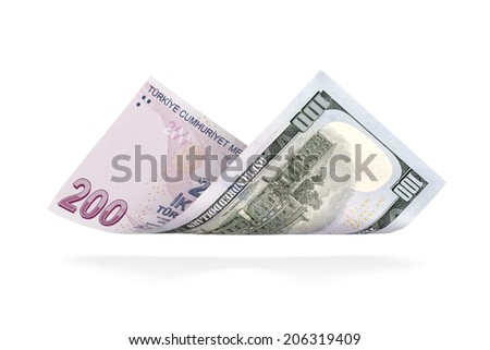 Currency Conversion, Turkish two hundred lira to the U.S. one hundred dollar - stock photo