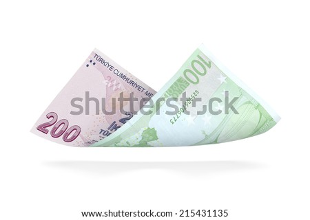 Currency Conversion, two hundred Turkish Lira to the one hundred Euro  - stock photo