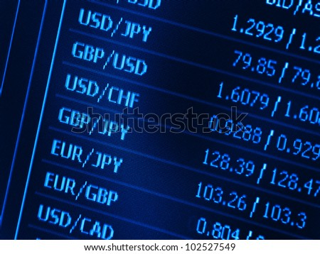 Currency data on a computer screen - stock photo