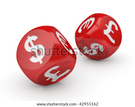 Currency Dice Isolated Series (Flying dices with a currencies signs on the sides) - stock photo