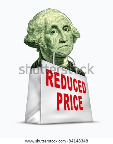 Currency discount caused by the devaluation of the dollar in relation to the world recession  and U.S. economy represented by a vintage character of George Washington in a shopping bag. - stock photo