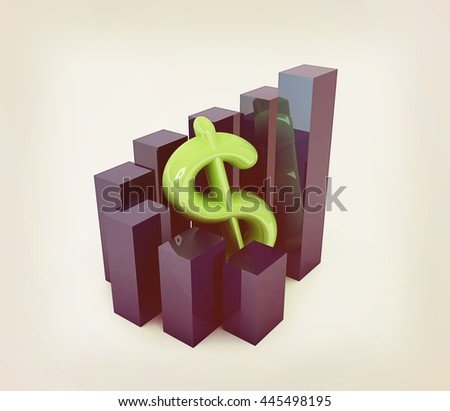 Currency dollar business graph on white background. 3D illustration. Vintage style. - stock photo