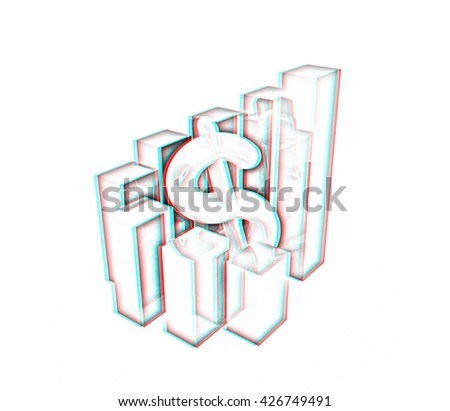 Currency dollar business graph on white background. Pencil drawing. 3D illustration. Anaglyph. View with red/cyan glasses to see in 3D. - stock photo