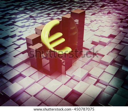 Currency euro business graph on abstract urban background. 3D illustration. Vintage style. - stock photo