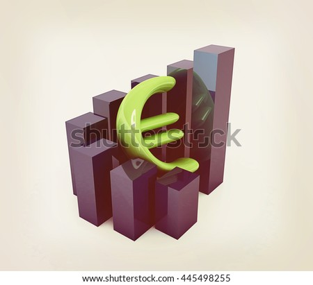 Currency euro business graph on white background. 3D illustration. Vintage style. - stock photo