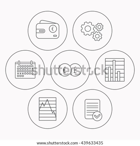 Currency exchange, chart and euro wallet icons. Statistics graph linear signs. Check file, calendar and cogwheel icons.  - stock photo