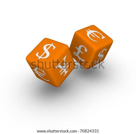 currency exchange dice icon (3D crossword orange series) - stock photo