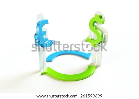 Currency Exchange from Euro to Dollar Concept - stock photo